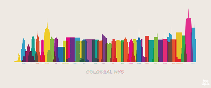 Şehir Silüetlerinin Neon Renkli İllüstrasyonları