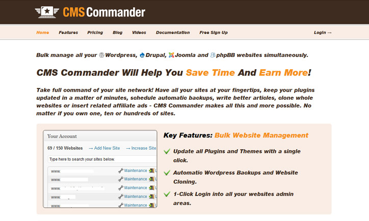 Wordpress siteleri yönetim paneli cmscommander