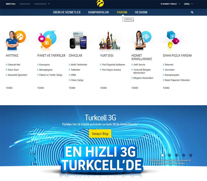 turkcell web sitesi screenshot