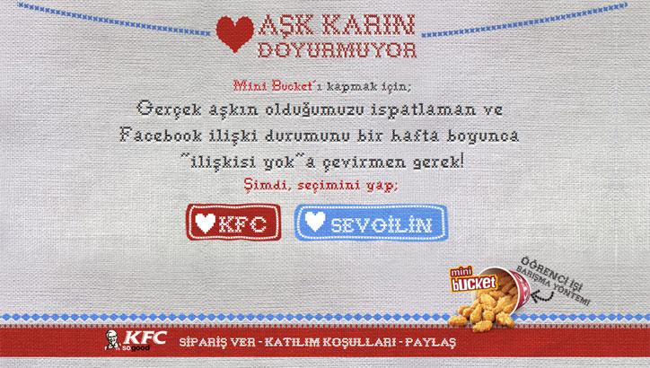 kfc facebook kampanyası aşk karın doyurmuyor