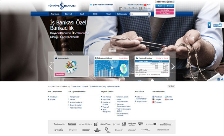 türkiye iş bankası responsive web sitesi