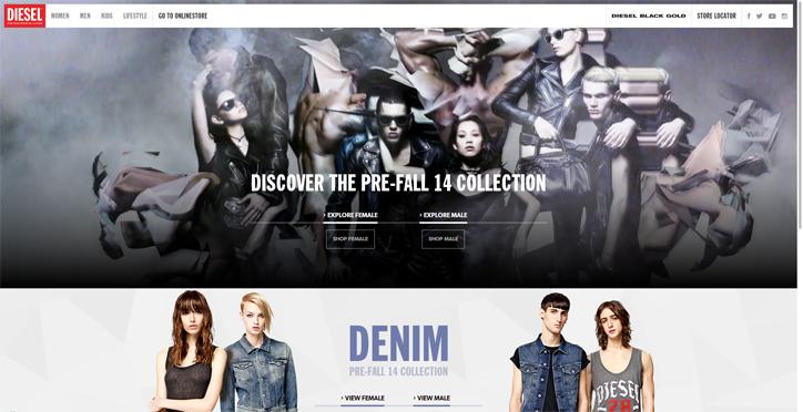 moda markaları web sitesi tasarım örnekleri diesel