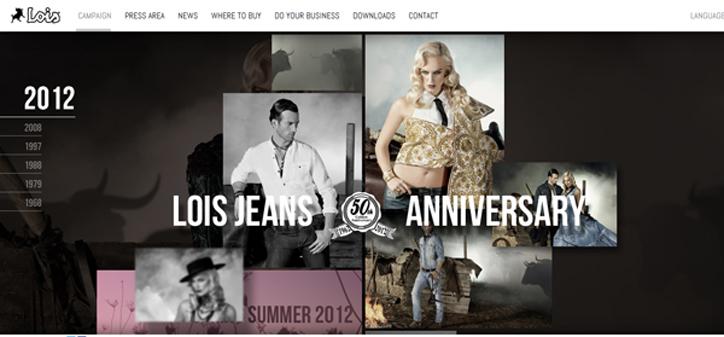 moda markaları web sitesi tasarım örnekleri lois jeans