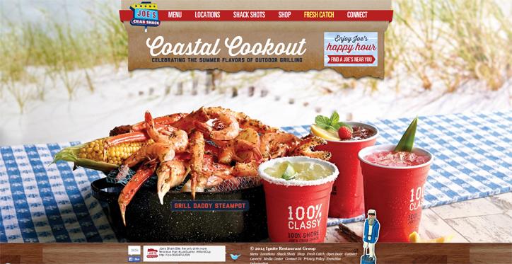 restoranlar için yaratıcı web sitesi joes crab shack