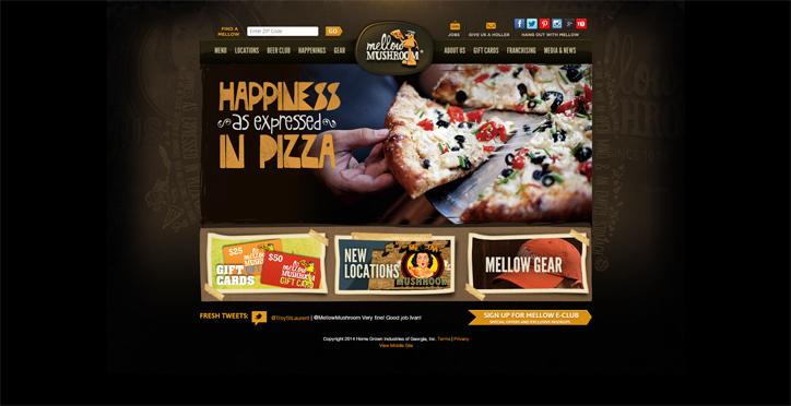 restoranlar için yaratıcı web sitesi mellow mushroom