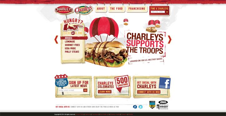 restoranlar için yaratıcı web sitesi örnekleri charleys