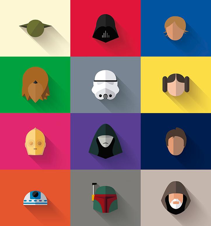 flat star wars ikon tasarımları