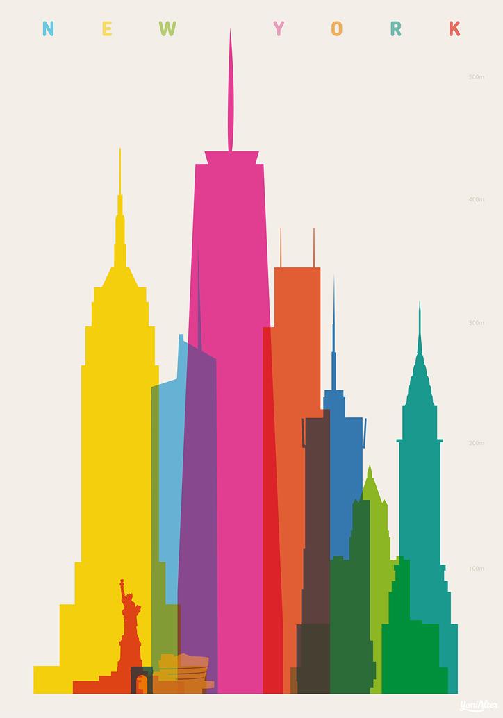 şehir silüetlerinin neon renkli illüstrasyonları