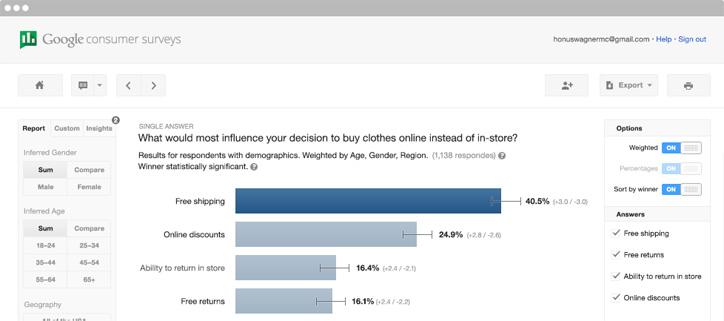 google seo araçları consumer surveys