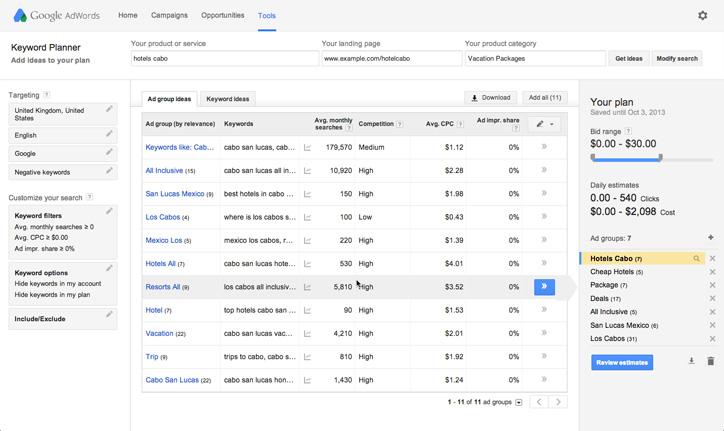 seo araçları google keyword planner