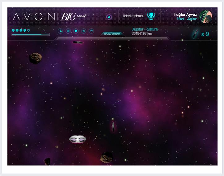 avon facebook oyunu big daring ile uzay yolculuğu