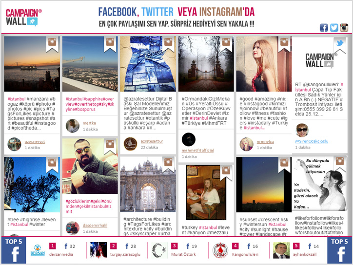 sosyal medya ekranı campaignwall