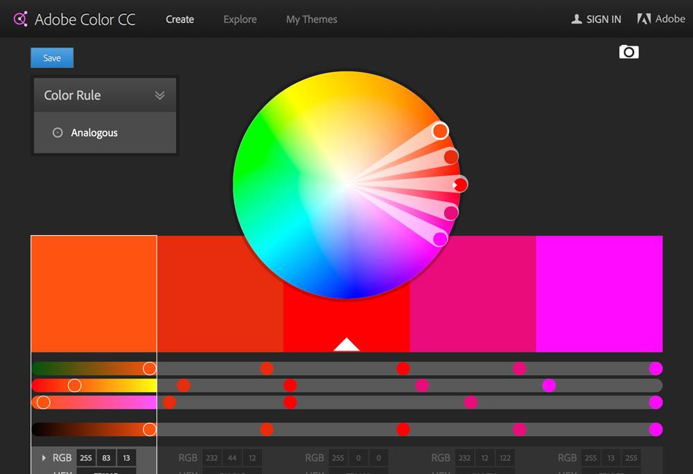 Popüler Görsel Tasarım Araçları 2016 Adobe Color CC