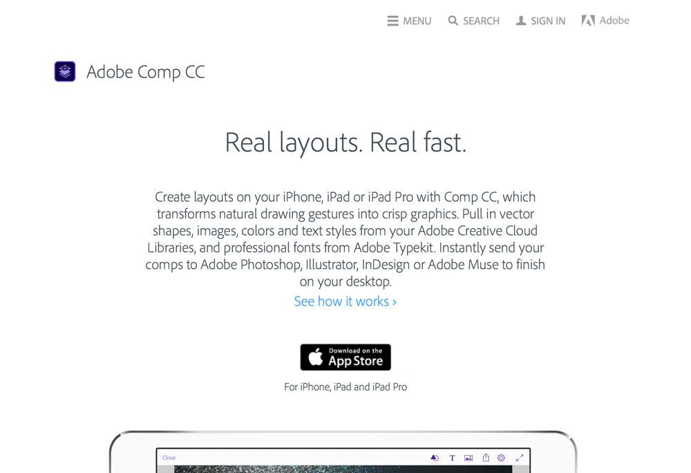 Popüler Görsel Tasarım Araçları 2016 Adobe Comp CC