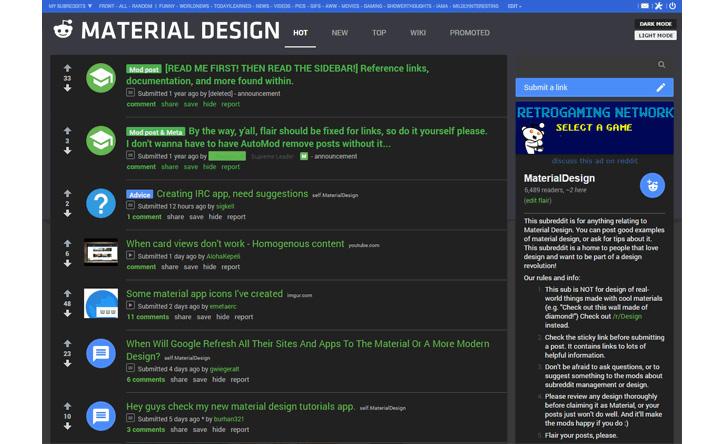 reddit material design